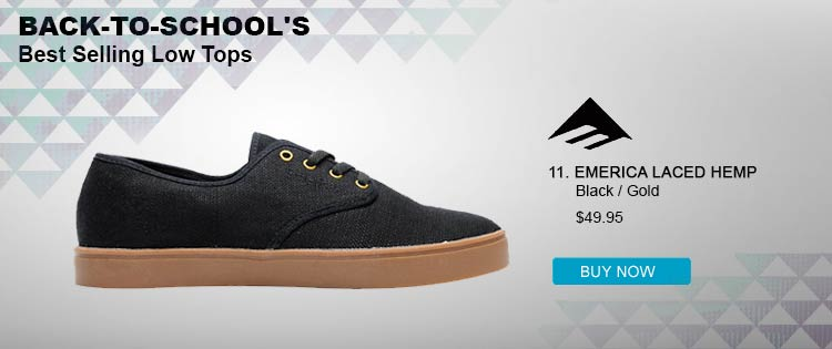 Emerica Laced Black &amp; Gold Hemp Skate Shoe