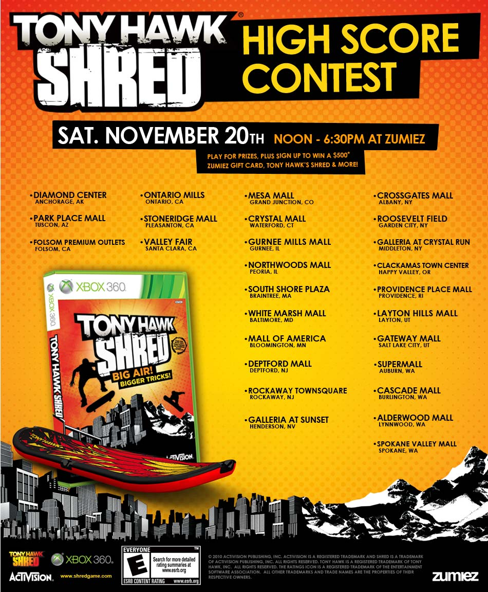 Tony Hawk Shred Game Contest