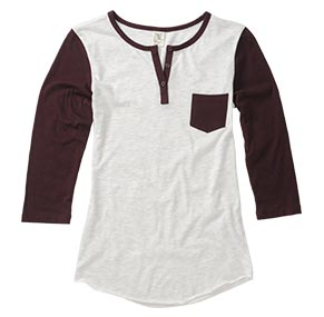 Port/Heather White Baseball Henley