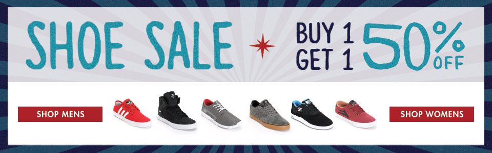 BOGO 50 on Mens and Womens Shoes