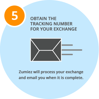 Obtain the tracking number for your exchange