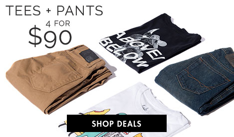Men's Tees + Pants - 4 for $90
