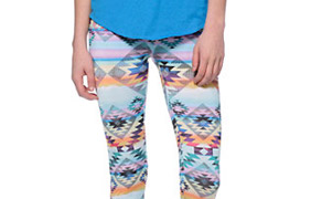 See You Monday Pastel Rainbow Tribal Print Leggings