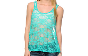 See You Monday Turquoise Lace Tank Top