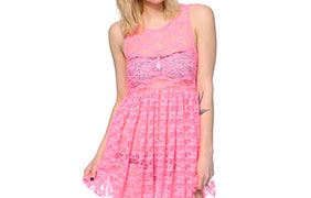 See You Monday Neon Pink Lace Babydoll Dress