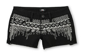 YMI Zoey Tribal Stitch Black Denim Cut Off Shorts