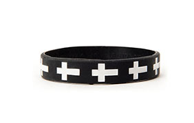 Jac Vanek Cross Black Rubber Bracelet