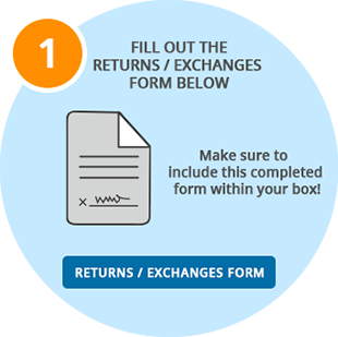 Fill out the Returns / Exchanges Form. Make sure to include this completed form within your box!