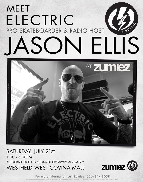 Electric Pro Skateboarder and Radio Host Jason Ellis Autograph Signing at Zumiez