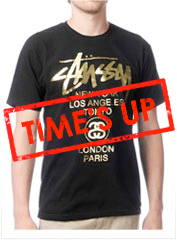 Stussy World Tour Black & Gold Tee Shirt