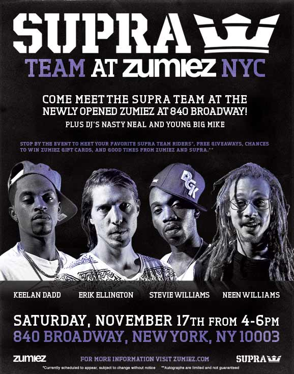 Supra Team at Zumiez - Saturday November 17th 2012 from 4-6pm - Zumiez New York