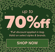 Save up to 70% off on select styles and brands of clothing, shoes and accessories.
