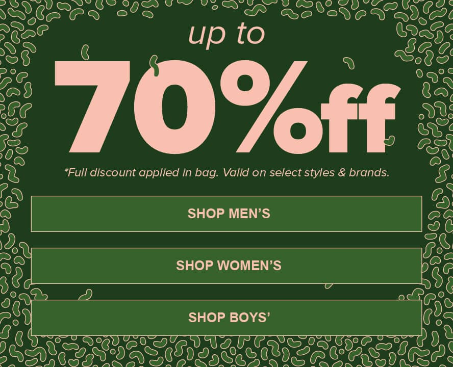 0d2ecae73 Save up to 70% off on select styles and brands of clothing, shoes and