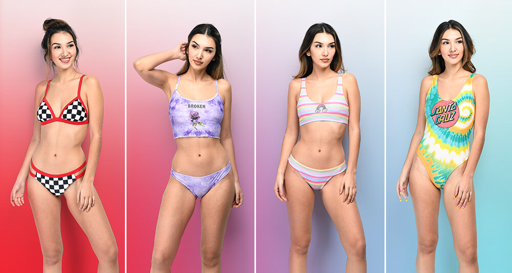Shop swimwear for women, featuring triangle bikini tops, bandeau tops, cheeky bottoms, one-pieces and more styles.