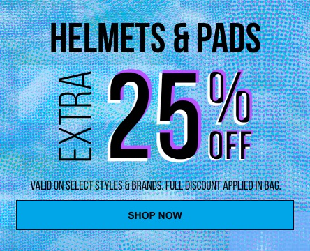 Take 25% off helmets and pads