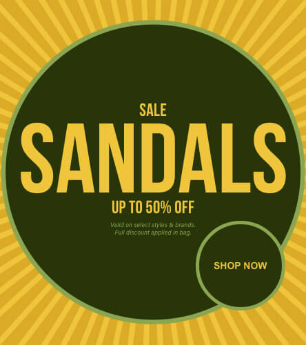 Save up to 50% off the original price on sale slides and sandals.
