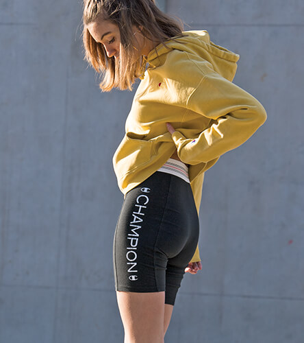 Champion for women, featuring reverse weave hoodies in new colors, tees, bike shorts, joggers and more.