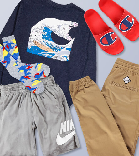 Find Men's Lounge wear including sweats, joggers, hoodies, slides, and socks.
