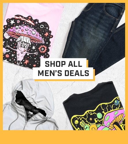 Men's clothing package deals where you can bundle and save on men's tees and pants when you put t-shirts and jeans together.