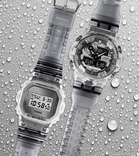 Watches featuring the clear Skeleton collection of G-Shock digital watches.