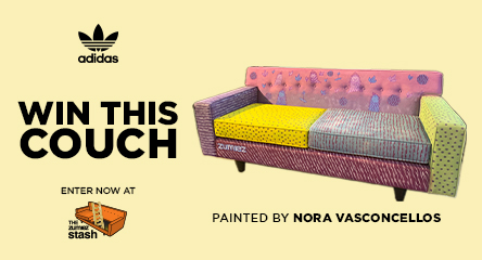 Win a custom Adidas couch painted by Nora Vasconcellos.