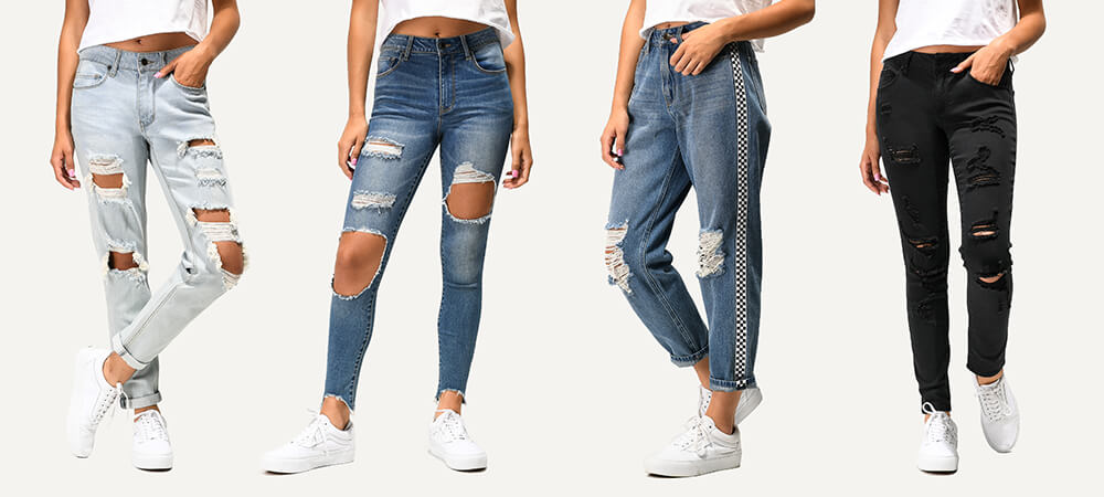 All styles of women's jeans