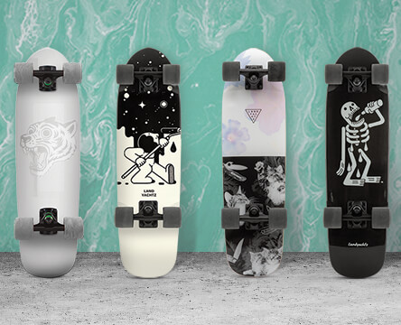 Cruiser complete skateboards featuring the Landyachtz Dingy.