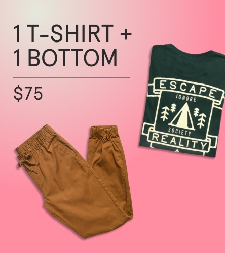 Shop men's clothing package deals where you can bundle and save on tees, pants. Pick a combination of multiple tees, pants and a t-shirt, or two pants and two tee shirts for a great deal.