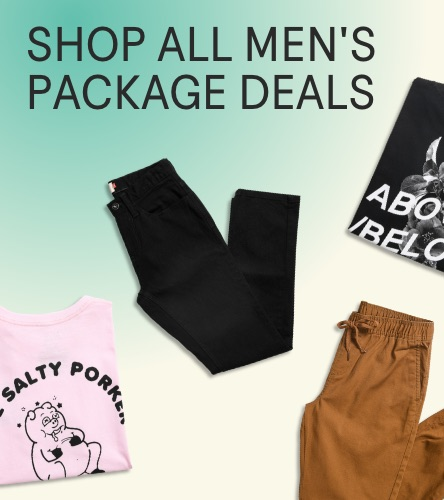 Men's deals: 2 t-shirts and 2 bottoms for $90 and other deals.