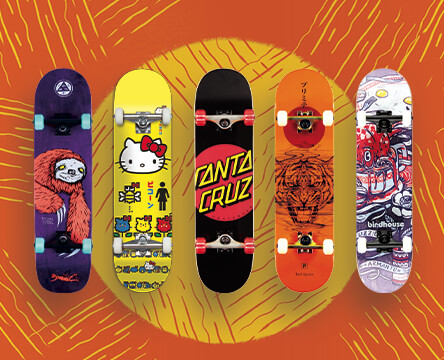 Pre-assembled completes that are ready to ride from skateboards form Girl, Welcome, Santa Cruz, Birdhouse, and Primitive.