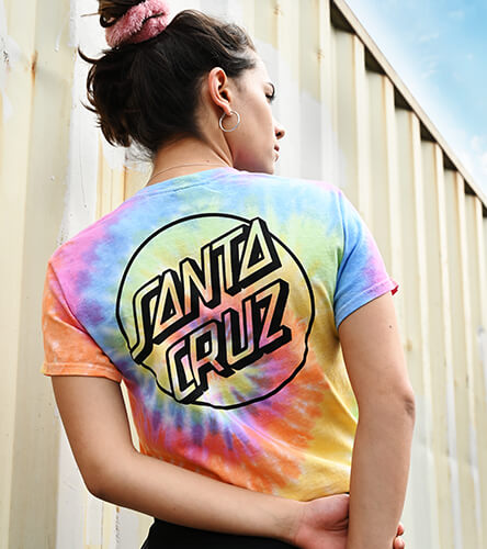 New tees for women from Santa Cruz, Champion, Adidas, Vans and other top brands in tie-dye, logo, stripes and more patterns.