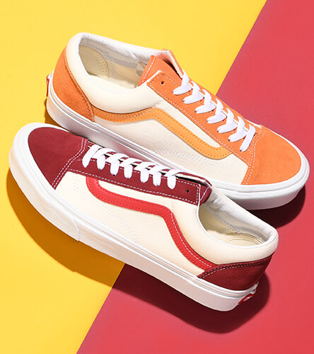Vans shoes featuring the Style 36 in red and yellow.