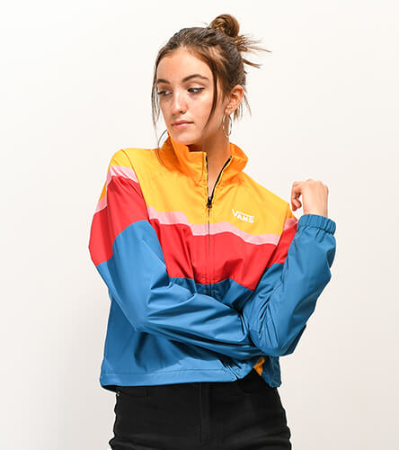 Shop windbreakers and other jackets for women featuring new styles and patterns like vibrant colorblocks from top brands like Vans and more.