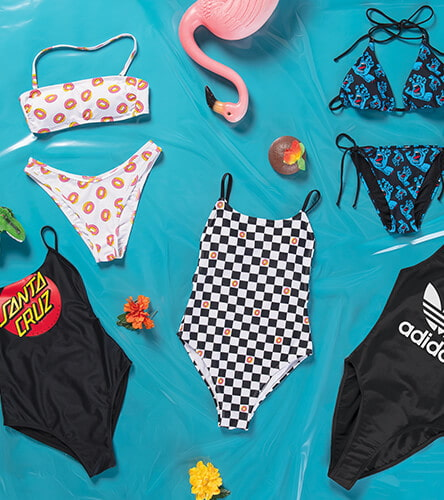 Shop swimwear for women, featuring triangle bikini tops, bandeau tops, cheeky bottoms, one-pieces and more styles from top brands.