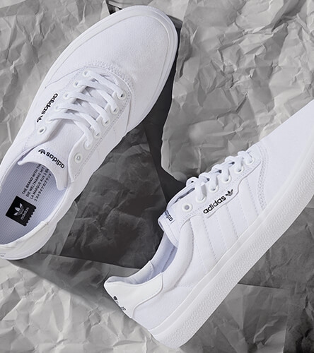 Shop adidas shoes featuring the all white 3MC skate shoes.