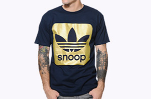 Adidas X Snoop Navy and Gold Foil Tee Shirt