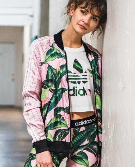 Adidas Palm Leaf Cropped White Tee, Track Jacket and Leggings