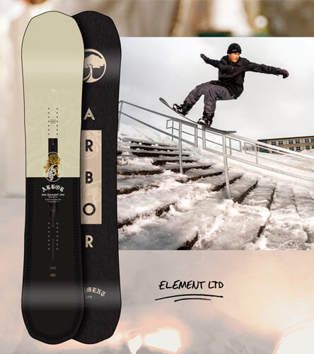 Arbor snowboards featuring the Zumiez exclusive Arbor LTD all mountain snowboard.