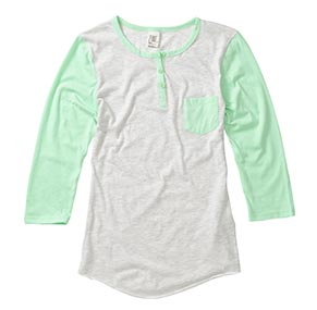 Mint/Heather White Baseball Henley