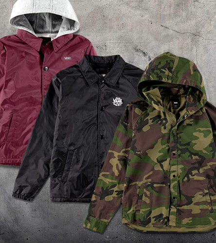 Shop boys' jackets featuring vans coaches and camo jackets.