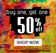 Buy 1 Get 1 50 Off *Valid On Select Styles & Brands