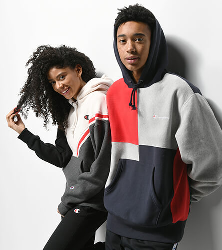 Men's & women's Champion logo hoodies, track pants, and more.