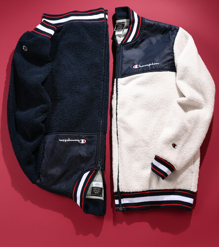 Sherpa baseball jackets in cream & navy from Champion