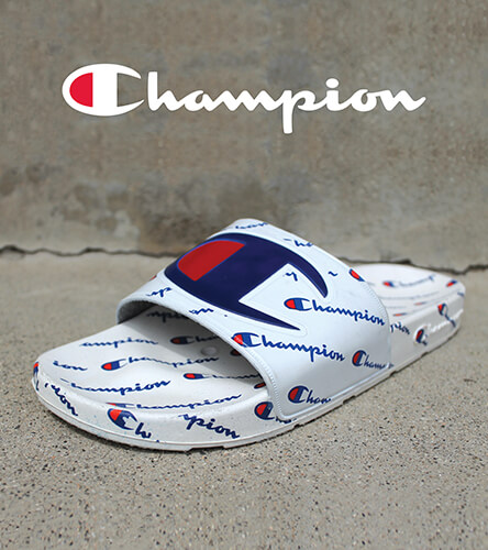 Slide sandals featuring the White IPO slides from Champion