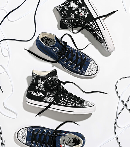 Limited edition Sean Pablo Chuck Taylor All Star High Tops in blue and black.