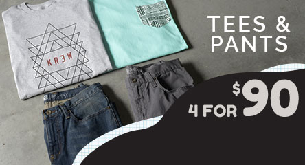 Mens 2 Tees and 2 Bottoms for $90