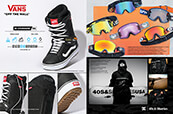 Shop snowboard boots by Vans, goggles by Madson, Spy, Vonzipper, Dragon and Volcom and the DC x 40s & Shorties collection.