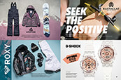 Women's snowboard gear from Roxy and Aperture, Rastaclat bracelets and G-Shock watches.