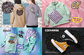 Clothing for women from Santa Cruz and Odd Future, clothing and accessories from RIPNDIP and Converse shoes.