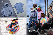 Wear Champion tie-dye Rally Crossovers with light blue hoodie and tee, or stand out in Shaka Wear.